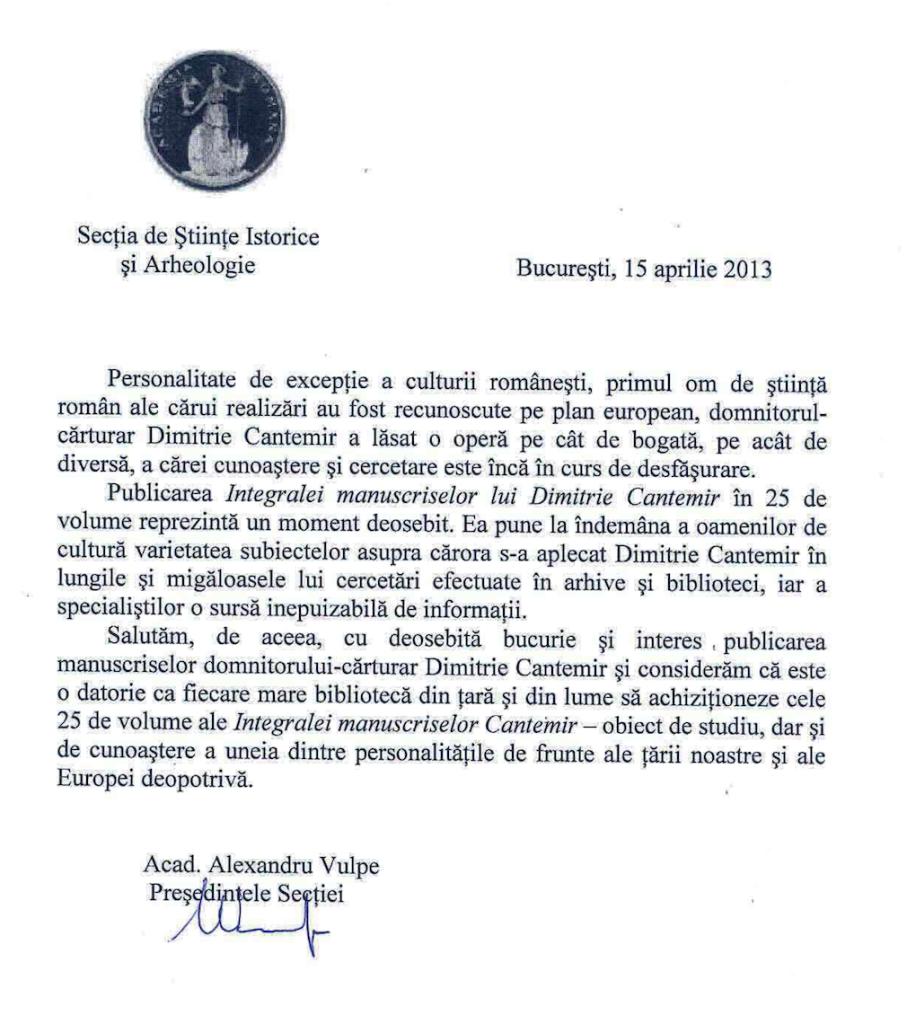 Acad. Alexandru Vulpe, Academician Roman, despre Integrala Manuscriselor Cantemir