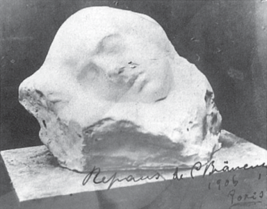 """Repaus - Imagine pe o carte poștală trimisă lui Victor N. Pop la 31 decembrie 1906. Pe fotografie, stă scris de mâna lui Brâncuși:""""Repaus de C. Brâncuși, 1906, Paris """" Bibliografie: Brezianu, Geist, Hulten/Istrati, Bach."""