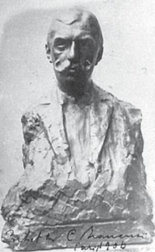 """Portretul lui Daniel Poiana - Gips din anul 1906. Barbu Brezianu a găsit fotografia în arhiva familiei Poiană Pe fotografie scrie Brâncuși însuși:""""Portret C. Brâncuși Paris 1906"""" Bibliografie: Brezianu, Geist, Bach."""